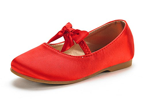 DREAM PAIRS SOPHIA-22 Adorables Mary Jane Front Bow Elastic Strap Ballerina Flat New RED Big Kid ()