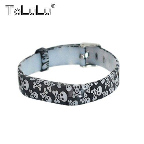 ToLuLu for Fitbit Flex 2 Colorful Replacement Wristband Strap Bracelet+Metal/Fitbit Flex 2 Buckle Fashion Wrist Band Bangle Strap -Skulls (Skull Buckle Metal)