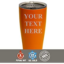 Engraved Custom SIC Cup Tumbler - Personalized 30 oz Powder Coated Cups with Double Walled Vacuum Sealed - Your Text Here Design (Orange)