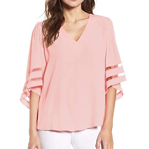 Shy Velvet Women's V Neck 3/4 Bell Sleeve Chiffon Blouse Mesh Panel Loose Top Shirts Pink -