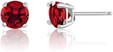 6mm Birthstone Round Cut Genuine Gemstone Rhodium Plated Sterling Silver Basket Setting Stud Earrings
