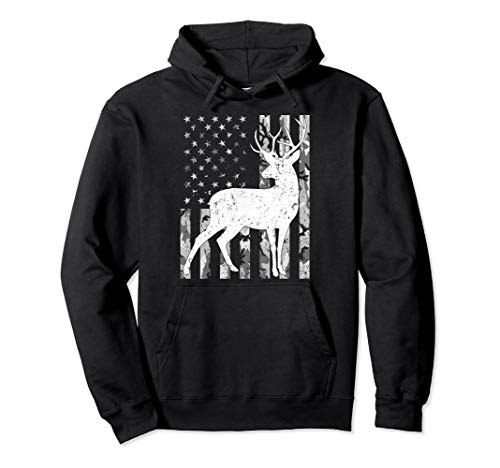Deer hunting Camouflage USA Flag Gift Hunter Pullover Hoodie