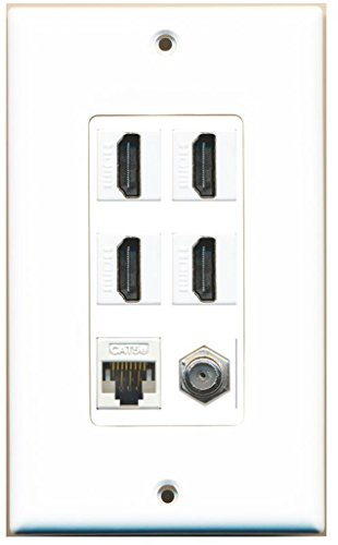 RiteAV - 4 x HDMI and 1 x Ethernet Cat5e and 1 x Coax Cable TV F Type Port Wall Plate - White