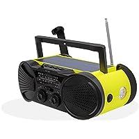Solar Powered Emergency Hand Crank Radio - Long Lasting 4000mAh Power Bank, NOAA Weather / AM / FM Stations, USB Phone Charger, SOS Alarm, LED Flashlight & Reading Light - BUZZ4000 by Wayl
