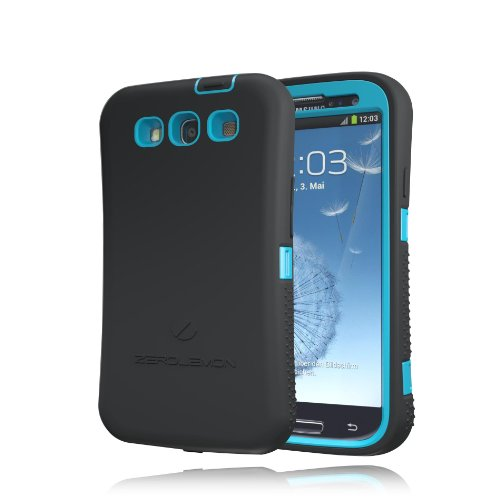 [180 Days Warranty] Zerolemon Sky Blue / Viper Black Zero Shock Series for Samsung Galaxy S3 S III I9300 - Covers All Battery Sizes - Worlds Only Universal Form Fitting Case. Rugged Hybrid Case Includ...