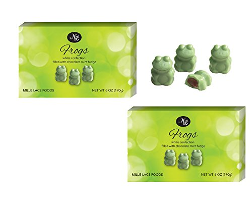 CLEARANCE SALE 2 Pack Best Green Confection Mint Fudge Filled Frogs 6 ounce each Novelty Wedding Party Favor Teacher Appreciation Thank You Gift Idea