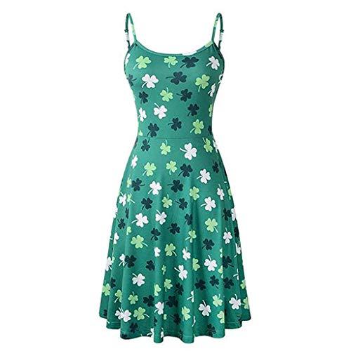 (Women's Sleeveless Adjustable Strappy Summer Beach Swing Dress Floral Flared Swing Beach Dress Casual Fit Tank Dress Green)