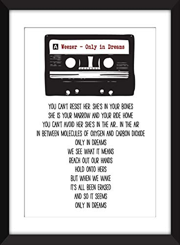 Weezer Only in Dreams Lyrics - Unframed Retro Cassette Print
