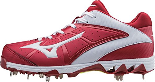 Mizuno Mujeres 9 Spike Swift 4 Fast Pitch Metal Softball Cleat Rojo-blanco