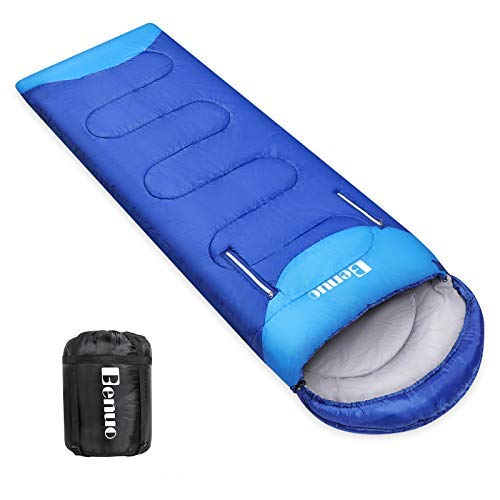 Benuo Sleeping Bag with Compression Sack 4 Season Warm & Cool Weather Lightweight Portable for Traveling Camping Hiking Home Office Hotel Outdoor Activities