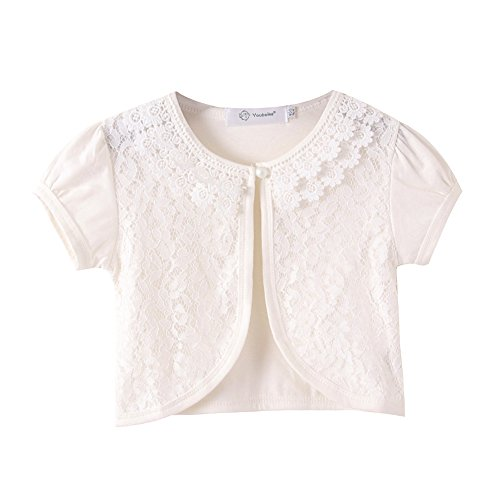 ZHUANNIAN Little Girls Bolero Short Sleeve Cap Lace Top (7-8, Off White) by ZHUANNIAN