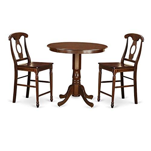 East West Furniture JAKE3-MAH-W 3 Piece Pub Table and 2 Kitchen Bar Stool Set - Mahogany Walnut Bar Stool