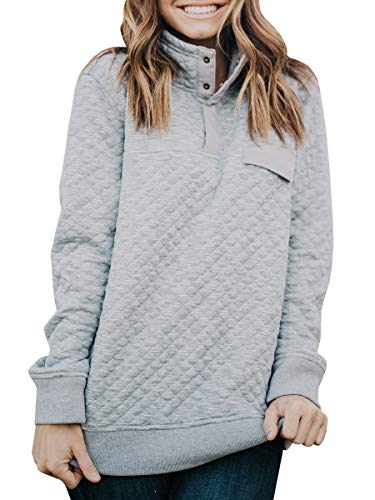(Womens Buffola Plaid Pullover Sweaters Quilted Polo Neck Long Sleeve Thermal Sweatshirts Grey)