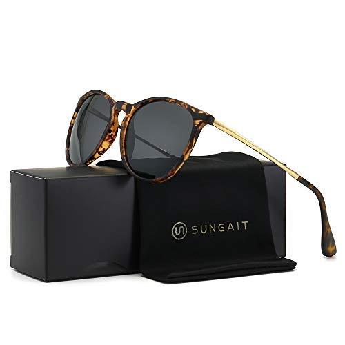 SUNGAIT Runde Sonnenbrille Herren Damen Polarisierte UV400 Schutz Ultraleicht Bernstein/Grau 1567