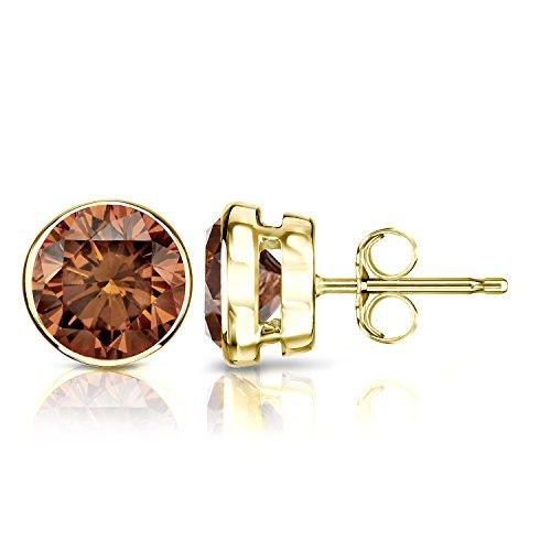 Diamond Wish 14k Yellow Gold Round Brown Diamond Stud Earrings (2 carat TW, SI2-I1) Bezel Set, Push-Back