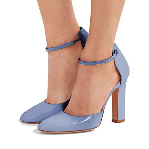 FSJ Women Vintage Retro Round Toe Mary Jane Chunky High Heels Patent Dress Pumps Shoes Size 4-15 US Steel Blue