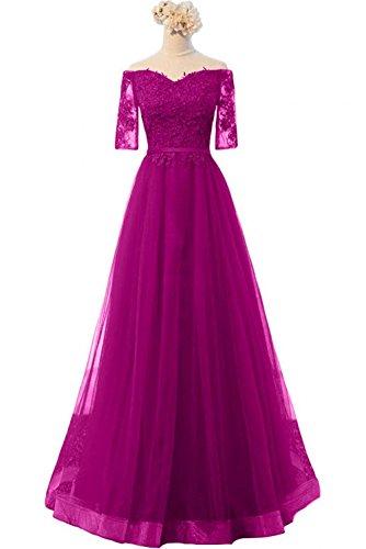 2018 Braut mia Lang Pink Rock A Tuell Linie La Festlichkleider Brautmutterkleider Schulterfrei Abendkleider Ballkleider E6qR5w