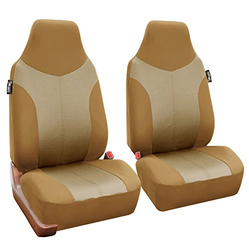 FH Group FB101115 Supreme Twill Fabric High-back Pair Set Car Seat Covers, Airbag Compatible, Beige/Tan Color- Fit Most Car, Truck, Suv, or Van (Bucket Beige)