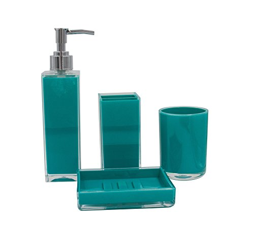 4-Piece Set: Bathroom Accessory Collection (Turquoise)