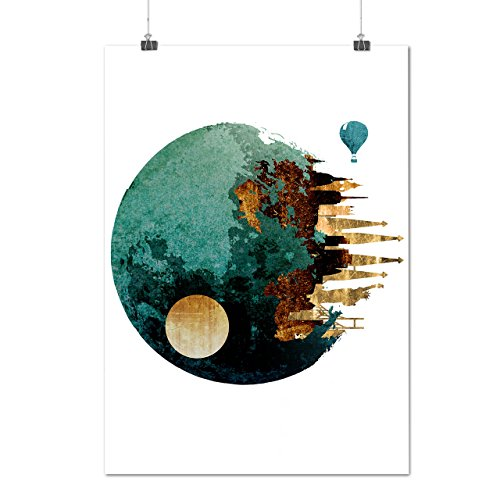 Planet Space City Fantasy Earth Figure Matte/Glossy Poster A4 (9x12 inches) | (Dragon City Halloween Battle 9)