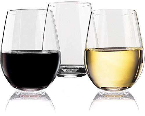 - Vivocci Unbreakable Elegant Plastic Stemless Wine Glasses 20 oz | 100% Tritan Heavy Base | Shatterproof Glassware | Ideal For Cocktails & Scotch | Perfect For Homes & Bars | Dishwasher Safe | Set of 2