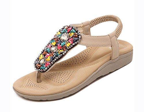 La Sra deslizadores del verano de las sandalias de las sandalias con zapatos de diamante de señora apricot