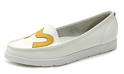 Easemax Womens Fashion Round Toe Low Cut Ankle High Slip On Flats Shoes White Q9ZaC