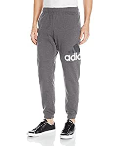 adidas Men's Essentials Performance Logo Pants, Mens, Adidas Men's Athletics Essential Logo Tapered Pants, S1754MCL230A, Dark Grey Heather/White, Small