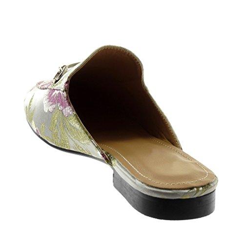 Zapatillas Cm Ancho Mujer Moda Angkorly Flores Open Babuchas 2 Plata on back Dorado Slip Bordado Tacón Rgwqw