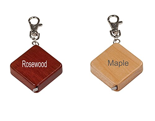 Engraved Personalized Choice of Maple or Rosewood Genuine Wood Tape Measure Key Chain (African Rosewood-Red Brown) (Tape Measure Personalized)