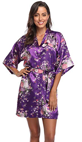 Belted Satin Robe - Season Dressing Floral Satin Kimono Robes Short Bridesmaid Robe for Parties Wedding Robes, Purple L/XL