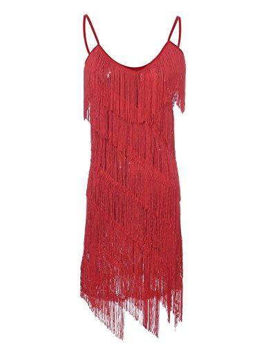 PrettyGuide Women Sequin Fringe 1920s Flapper Inspired Party Latin Dress Red M -