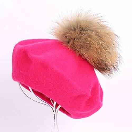 c1cd58b59a0 MEIZOKEN Painter Beret Outdoor Artist Hats Autumn Winter Warm Knit caps  Solid Color Raccoon pom-