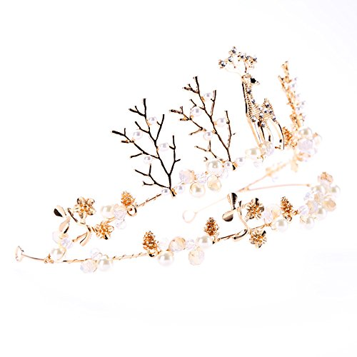 Awayyang Forest Fawn Antlers Flower And Pearl Crown Accessory for Christmas Holiday - Cast Christmas Bride