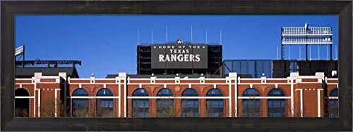 (Rangers Ballpark, Dallas, Texas by Panoramic Images Framed Art Print Wall Picture, Espresso Brown Frame, 30 x 11 inches)