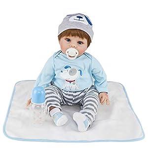 JOYMOR 22 Inch Lifelike Realistic Baby Doll Washable Soft Body Lovely Simulation Reborn Vivid Baby Doll (Puppy Clothes)