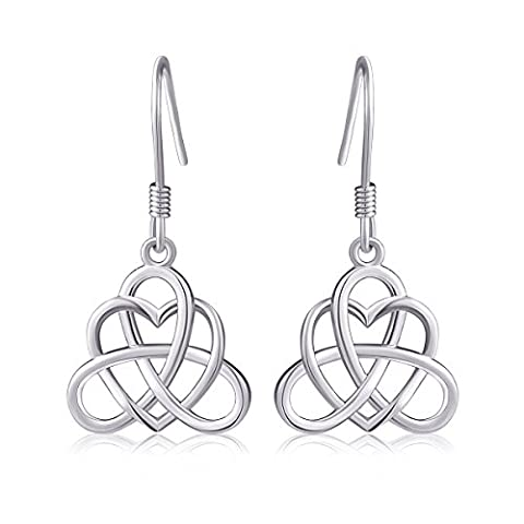 925 Sterling Silver Good Luck Irish Heart with Triangle Celtic Knot Vintage Jewelry Set - Celtic Love Symbol
