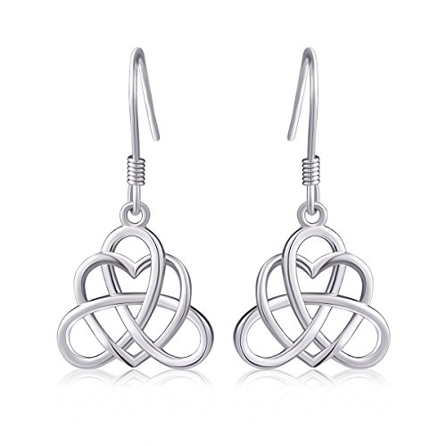 925 Sterling Silver Good Luck Irish Heart with Triangle Celtic Knot Vintage Jewelry Set (Irish Celtic Jewelry)