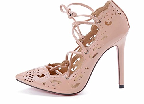 YCMDM donne Grandi sandali Officine scavato Tacchi alti singoli pattini 39 36 35 38 37 40 41 42 43 , pink , 38