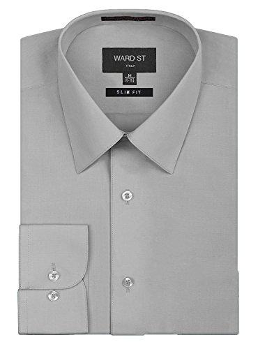 Ward St Men's Slim Fit Dress Shirts, Large, 16-16.5N 36/37S, Light Gray