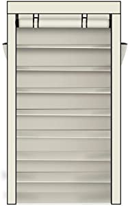 Labconco New 10 Tiers Shoe Rack Heavy Duty Dustproof Cover Closet Storage Cabinet Home US