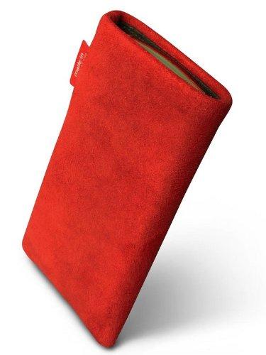 fitBAG Folk Rot Handytasche Tasche aus feinem Wildleder Echtleder mit Microfaserinnenfutter für Apple iPhone 1G