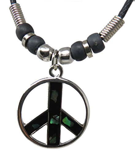 Hippie Shell Necklace (Exotic & Trendy Jewelry, Books and More Peace Sign Necklace Unisex Peace Love Symbol Necklace Hippie Necklace - Peace Symbol Necklace (Peace Paua Shell))