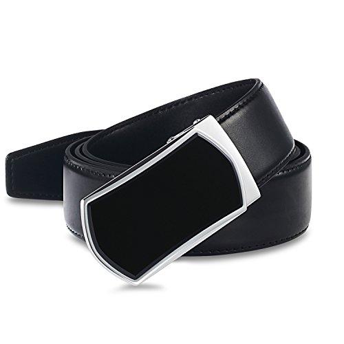 【New 2018 Version】Golf Belts for Men Black Leather with Removable Click Buckle Automatic Ratchet Belt Adjustable Dress Belt 1 3/8'' by WAYMO
