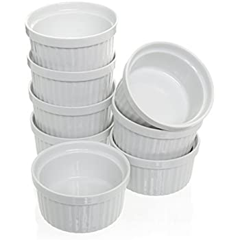 (Set of 8) 4 oz. Porcelain Ramekins, White, Bakeware, Soufflé Cups Dishes, Creme Brulee, Pudding, Custard Cups, Desserts, by California Home Goods