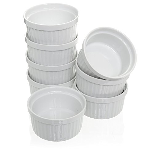(Set of 8) 4 oz. Porcelain Ramekins, White Bakeware, Soufflé Cups Dishes, Creme Brulee, Pudding, Custard Cups, Dessert Bowls, Condiment Servers - Chefs Ramekins