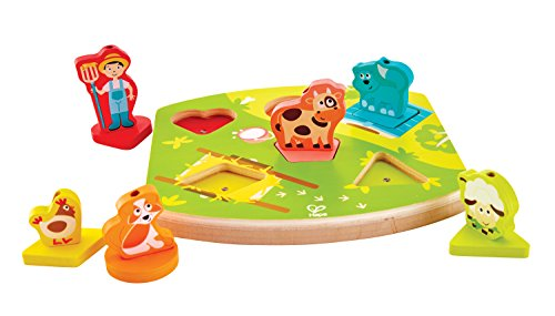Hape Farmyard Sound Puzzle Game (10 Piece), Multicolor, 5'' x 2''
