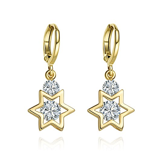 King of Solomon Gold-Tone Star of David Lucky Charms Magic Powers Sparkling Crystals Amulets Earrings -