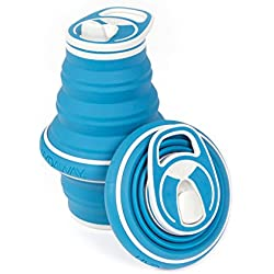 New! HYDAWAY Collapsible Pocket-sized Travel Water Bottle - 21 oz., Bluesteel