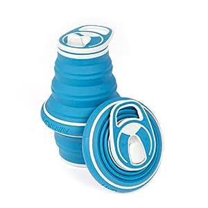 New! HYDAWAY Collapsible Pocket-sized Travel Water Bottle - 21 oz., Bluesteel